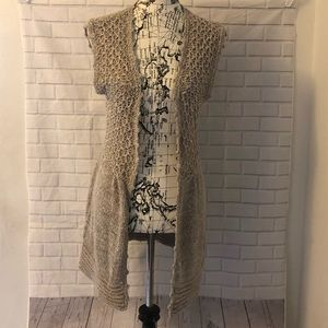 NEW Sanctuary knitted long vest cardigan brown